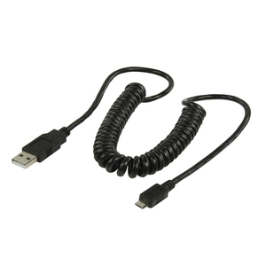 2M coiled MICRO USB B MALE to A MALE USB V2 cable